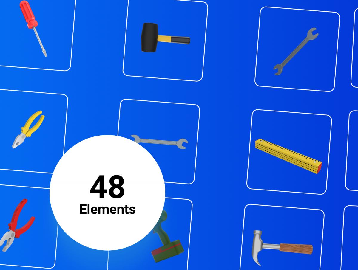 48个卡通3D修炼工具图标设计素材 3D Tools插图7