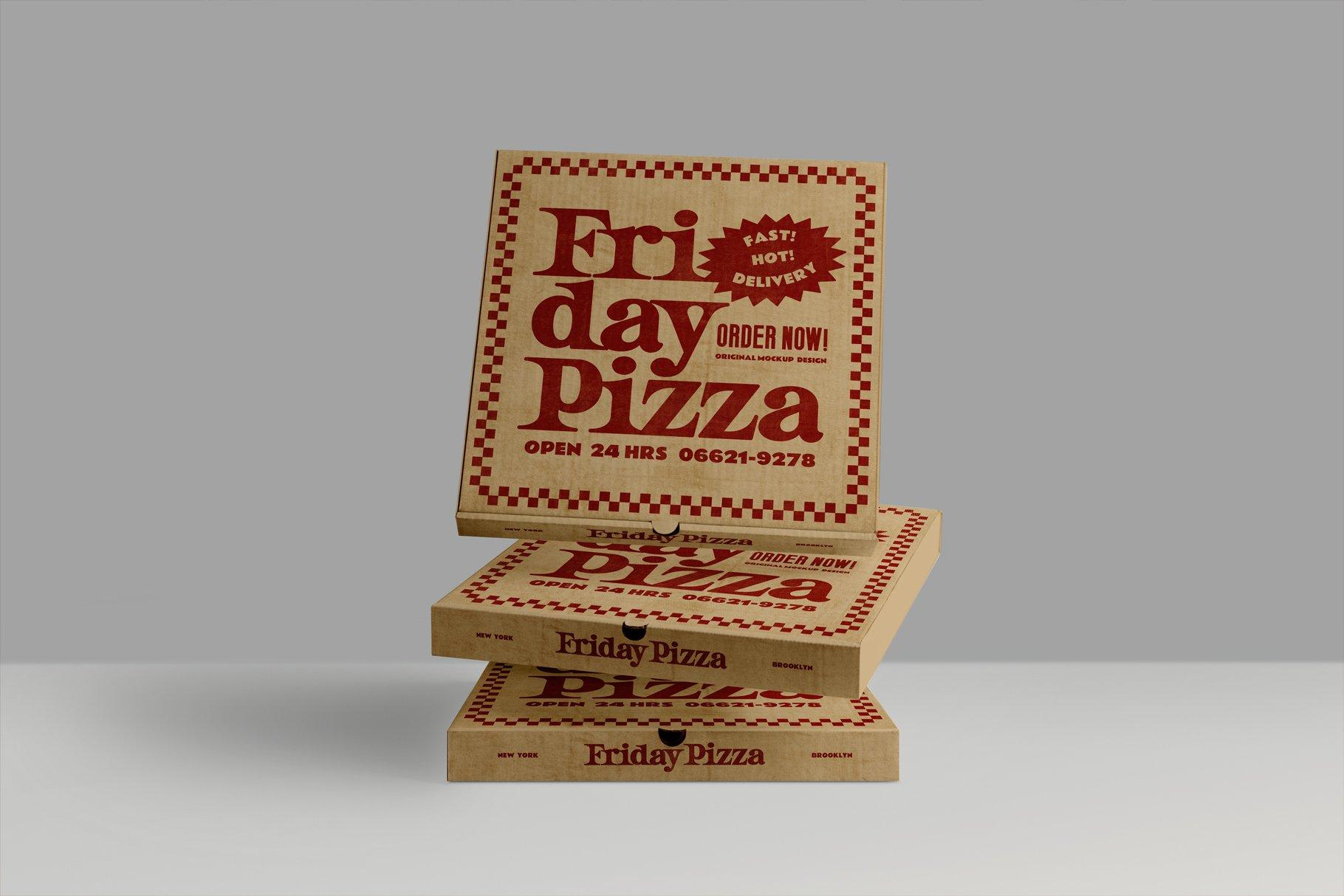 3款比萨外卖包装纸盒设计展示贴图样机 3 Pizza Box Mockup插图6
