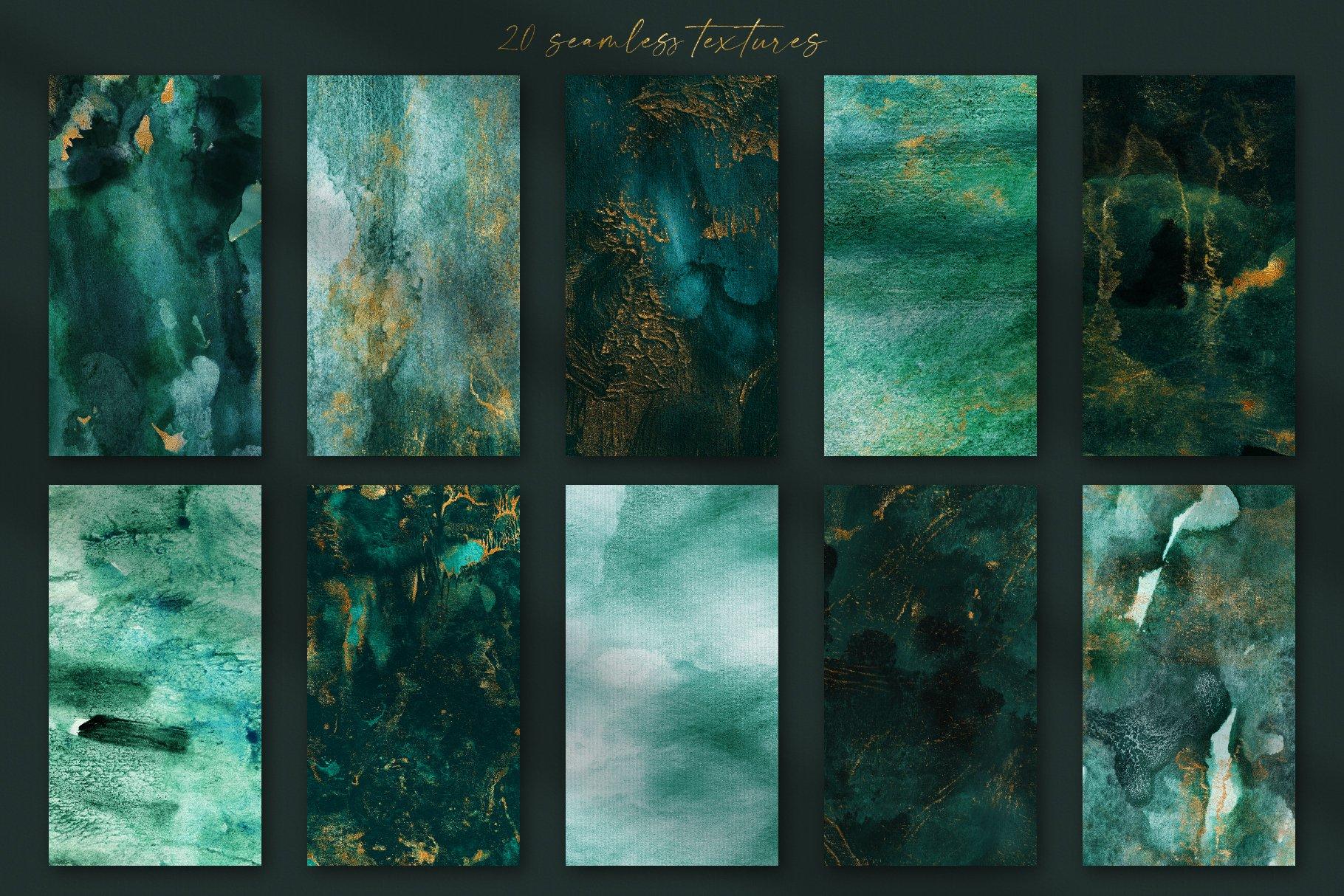 30款奢华翡翠墨绿流金水彩抽象艺术装饰背景底纹图片素材 Seamless Watercolor Backgrounds插图4