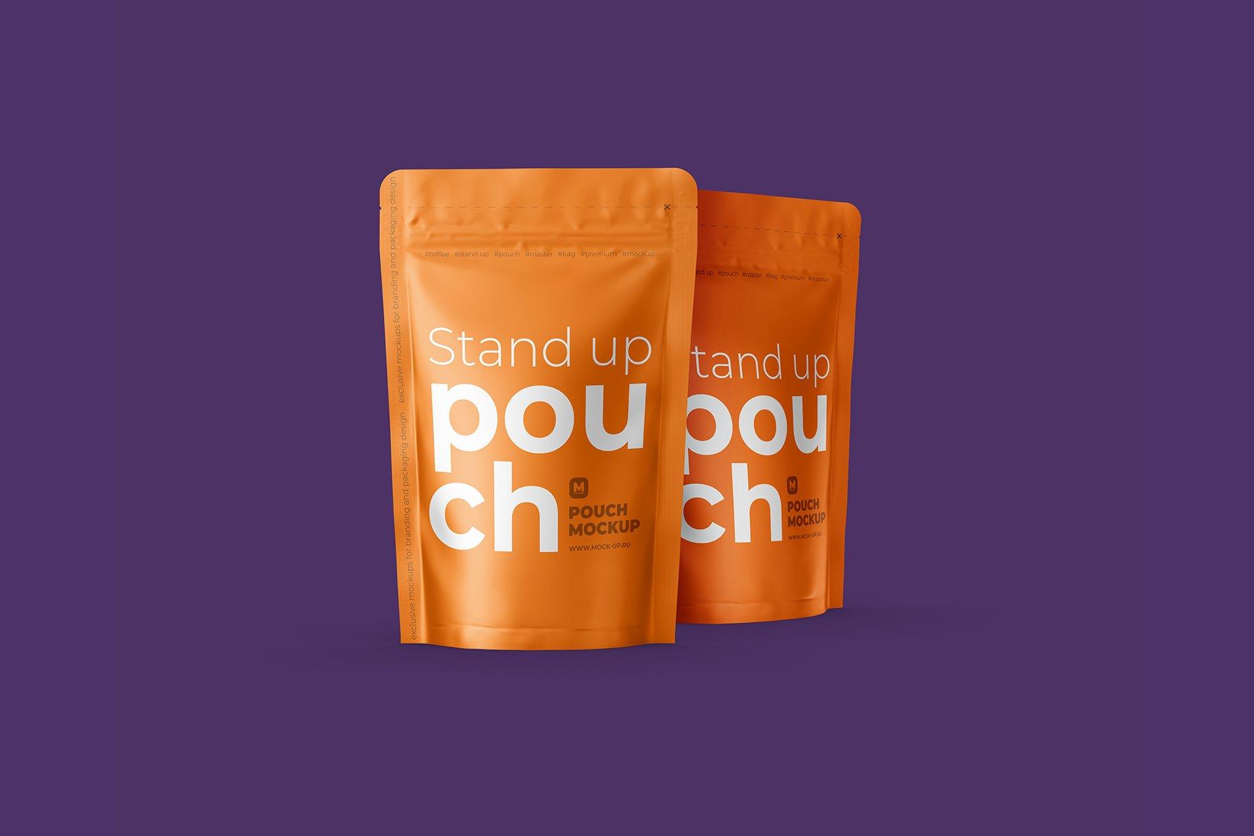 光泽立式食品自封袋设计PS贴图样机 Stand Up Pouch Front and Half Side插图4