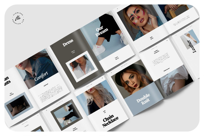 极简主义摄影作品集画册设计INDD模板素材 Creme Editorial Fashion Lookbook插图4