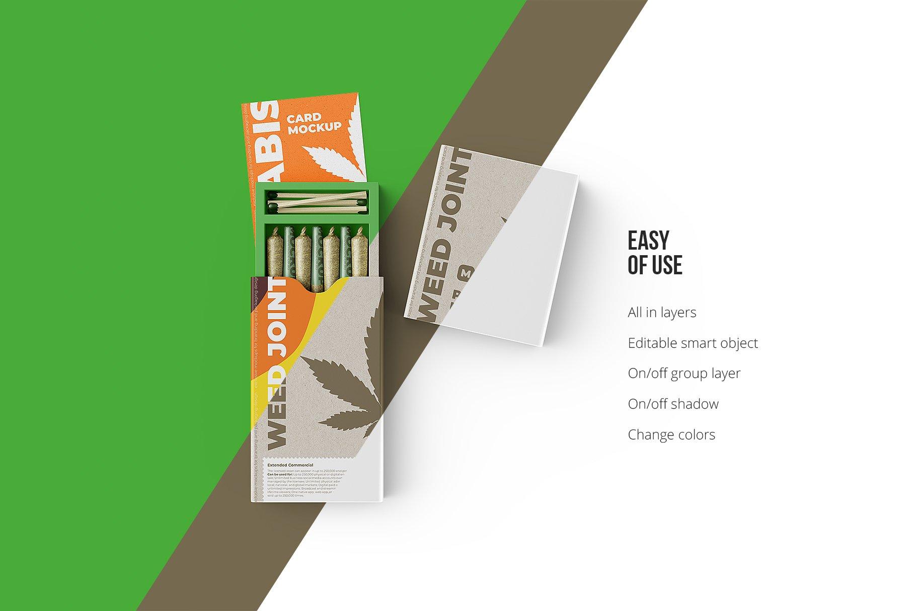 烟草香烟雪茄包装纸盒设计展示贴图样机 Weed Joint Packaging Mockup插图4