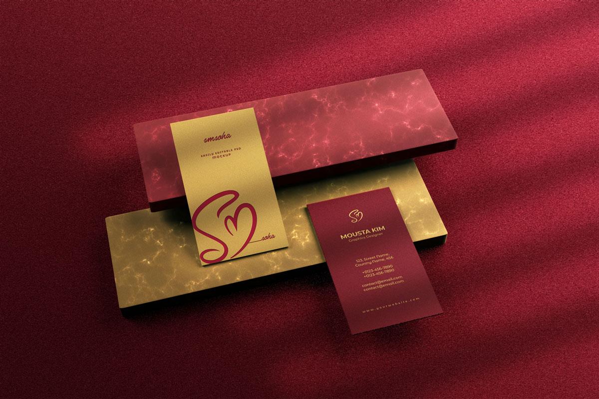优雅商务名片卡片设计展示PSD样机模板 Elegant Business Card Mockup插图4
