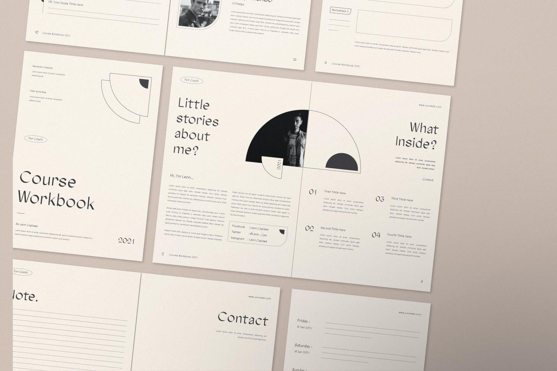 时尚简约杂志画册课程工作簿设计INDD模板素材 Course Workbook插图4