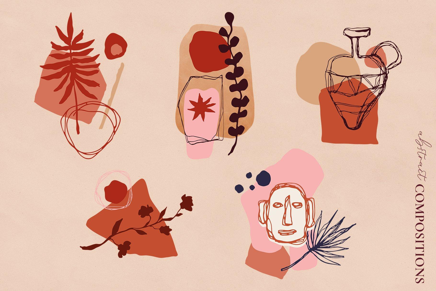 [单独购买] 现代优雅抽象花卉图形艺术线条金色箔纸设计套件 Abstract Line Art Design Kit插图4