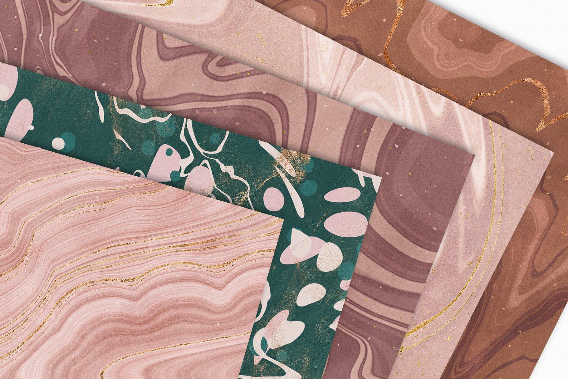 [淘宝购买] 15款抽象复古高清大理石金色箔纸纹理背景图片设计素材合集 Marbled Paper Texture Collection插图4