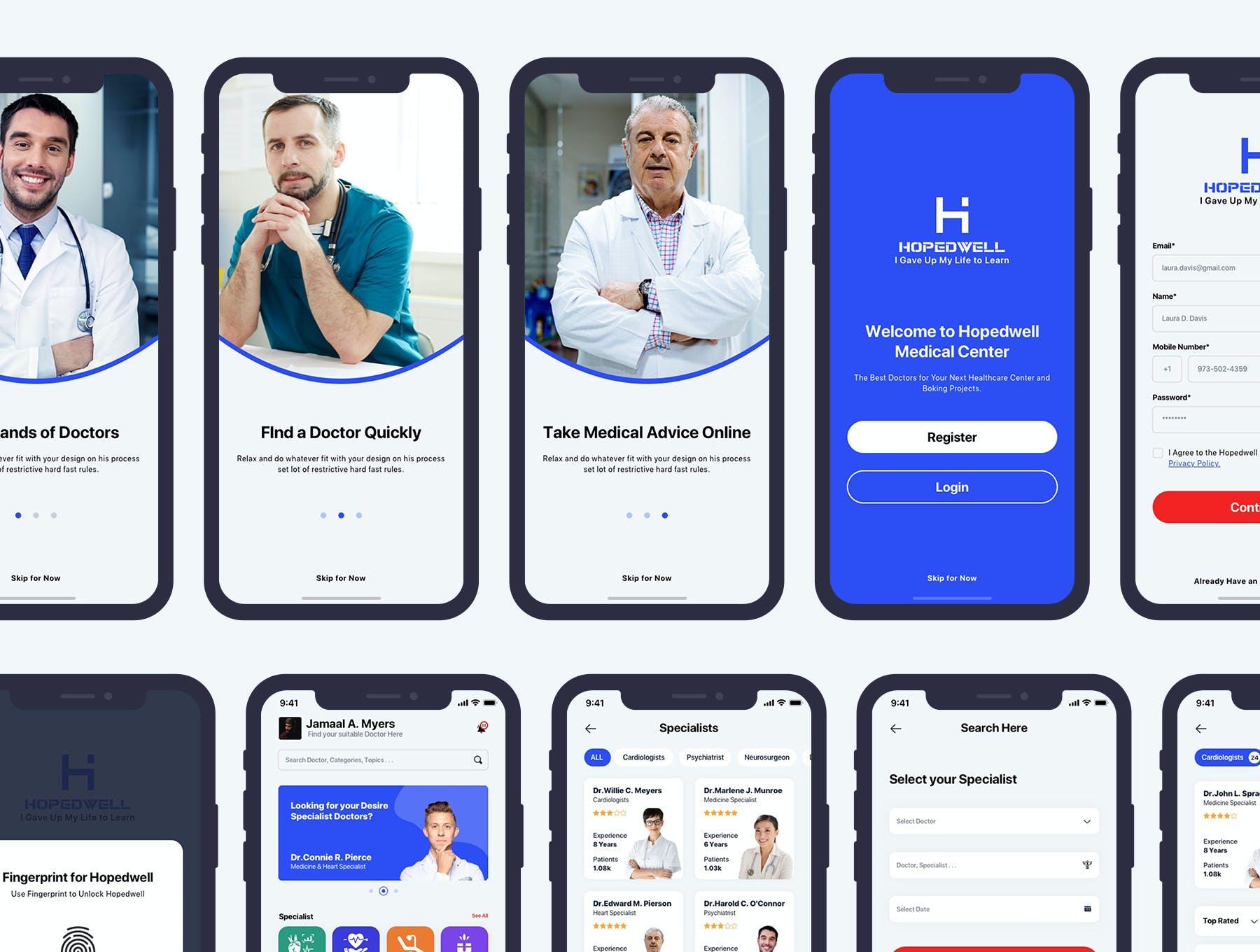 医院挂号卫生保健APP应用程序UI界面设计套件 Hospital & HealthCare Mobile App UI插图4