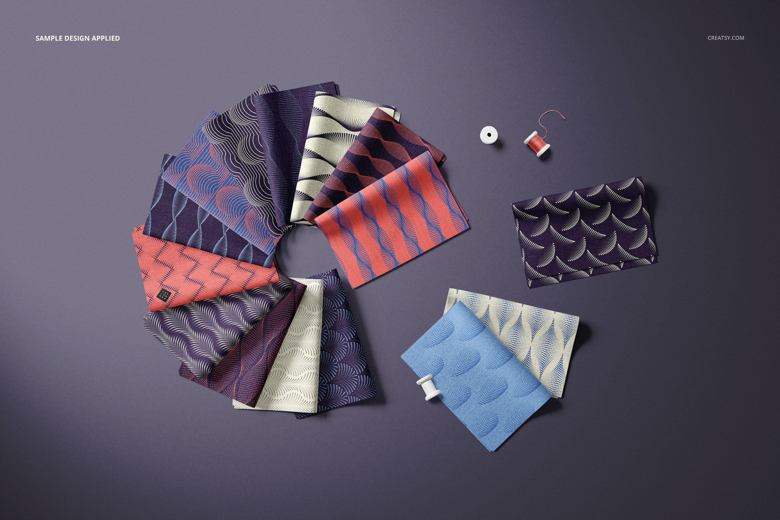 时尚折叠式绸缎面料印花图案设计贴图样机合集 Folded Fabric Swatches Mockup Set插图4