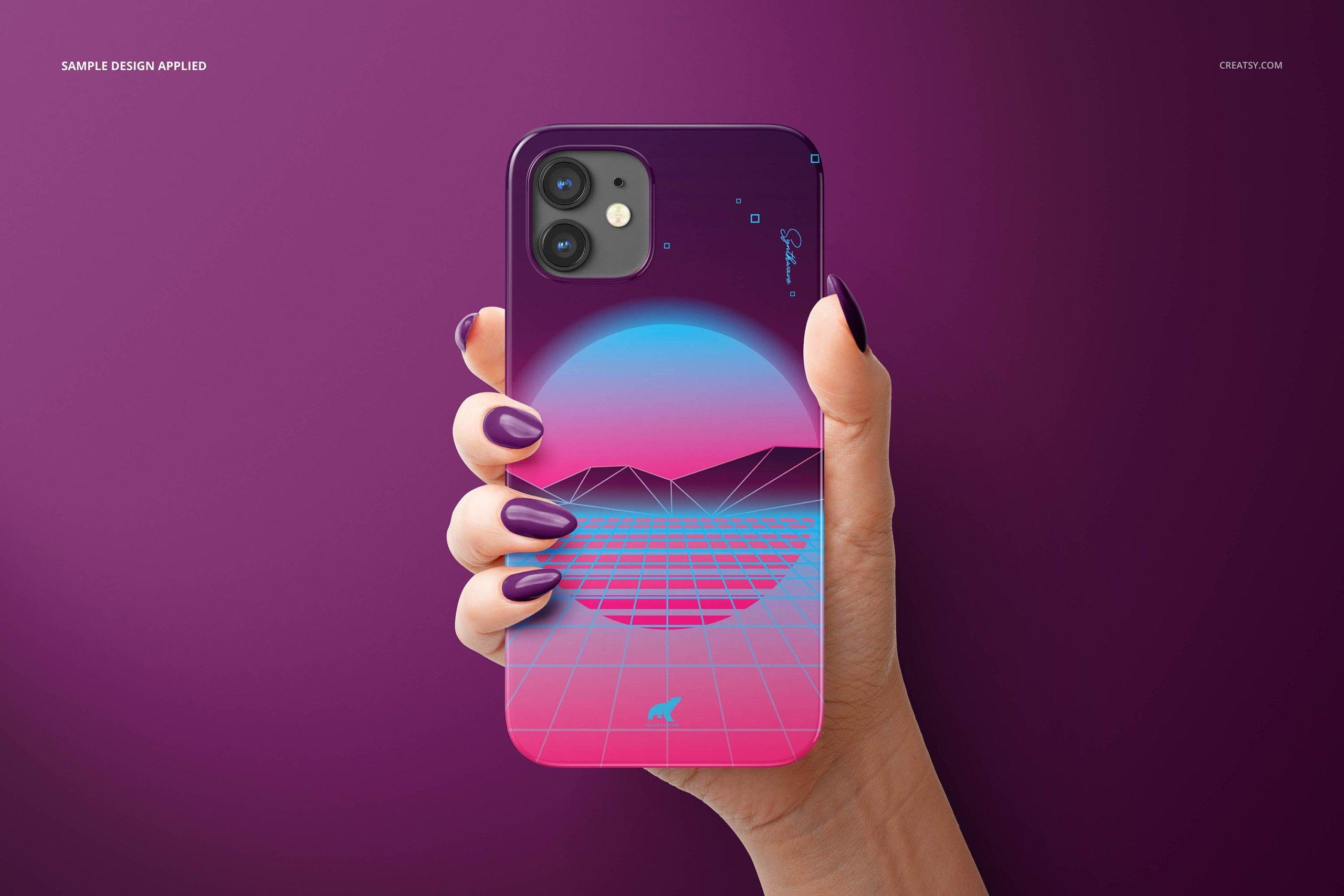 [单独购买] 26款时尚光滑苹果iPhone 12手机保护壳设计PS贴图样机模板素材 iPhone 12 Glossy Snap Case 1 Mockup插图6