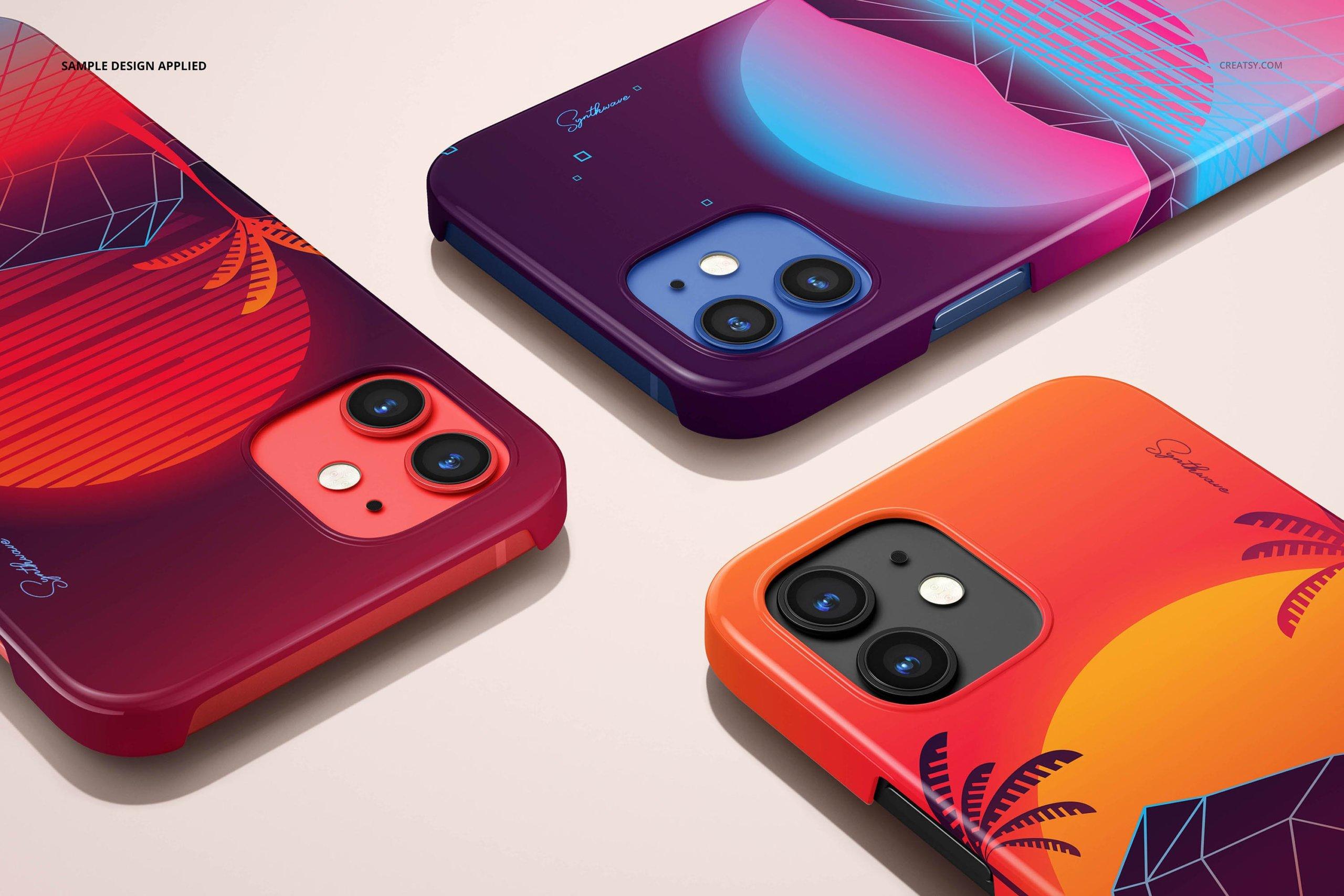 [单独购买] 26款时尚光滑苹果iPhone 12手机保护壳设计PS贴图样机模板素材 iPhone 12 Glossy Snap Case 1 Mockup插图7