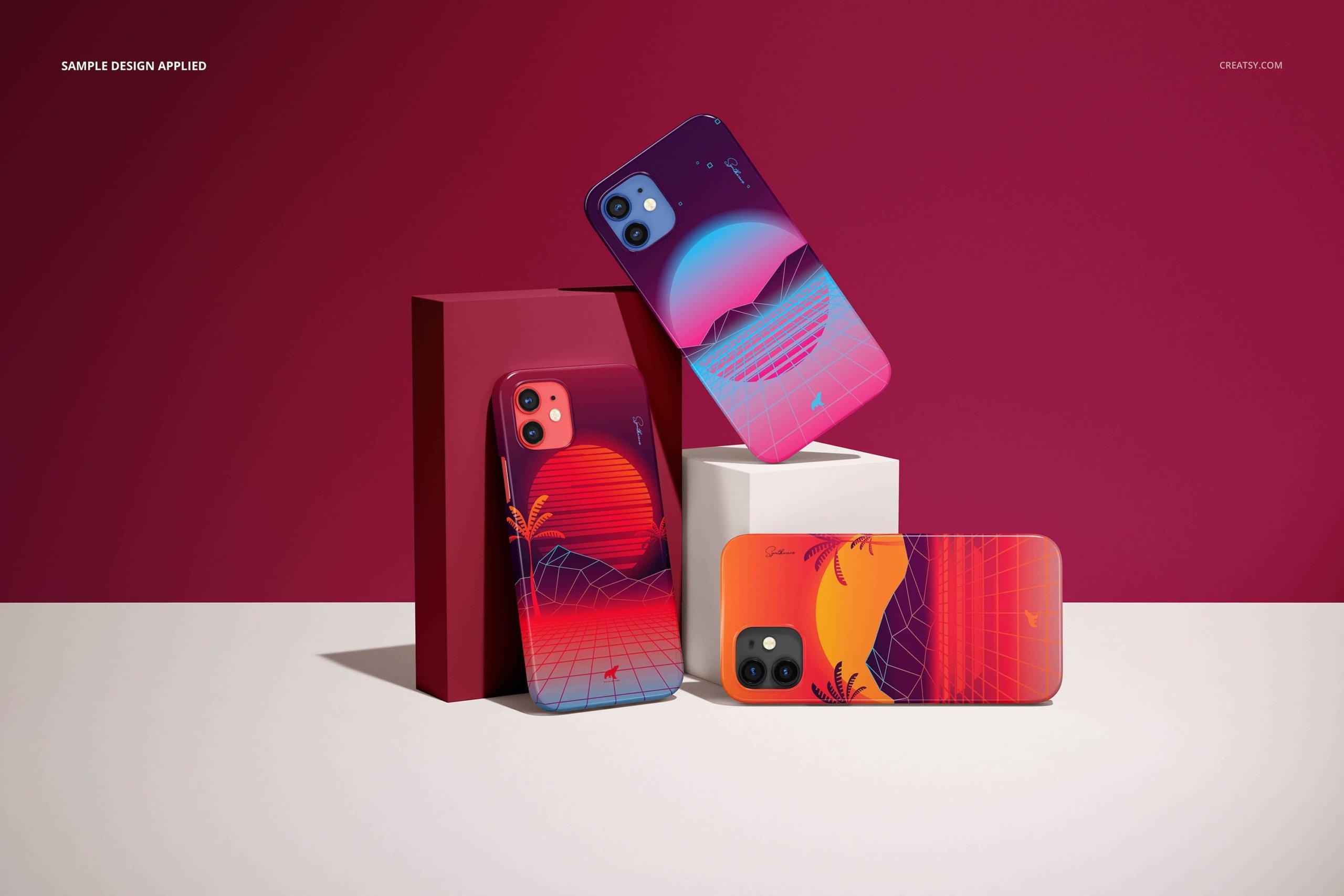 [单独购买] 26款时尚光滑苹果iPhone 12手机保护壳设计PS贴图样机模板素材 iPhone 12 Glossy Snap Case 1 Mockup插图8