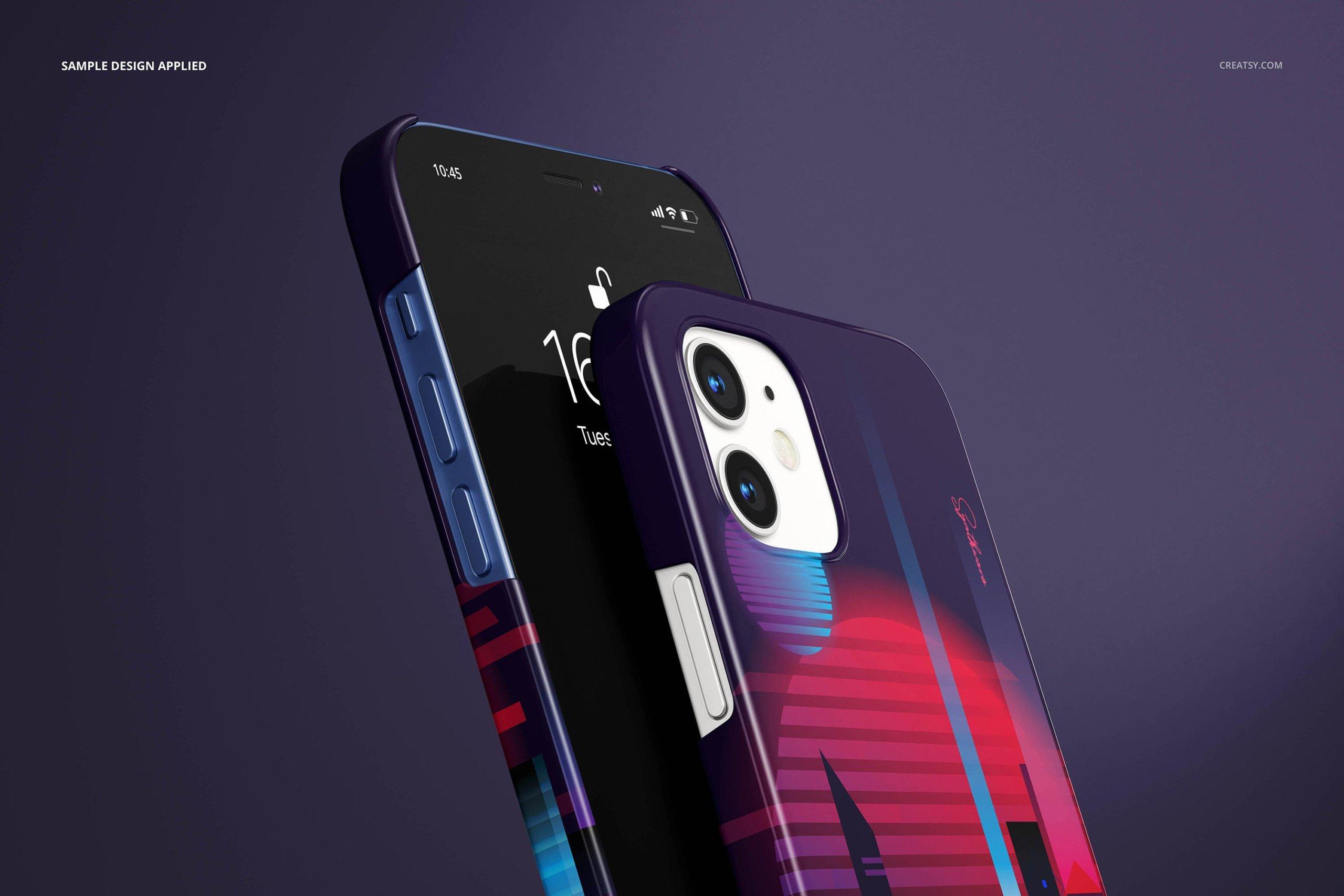 [单独购买] 26款时尚光滑苹果iPhone 12手机保护壳设计PS贴图样机模板素材 iPhone 12 Glossy Snap Case 1 Mockup插图9