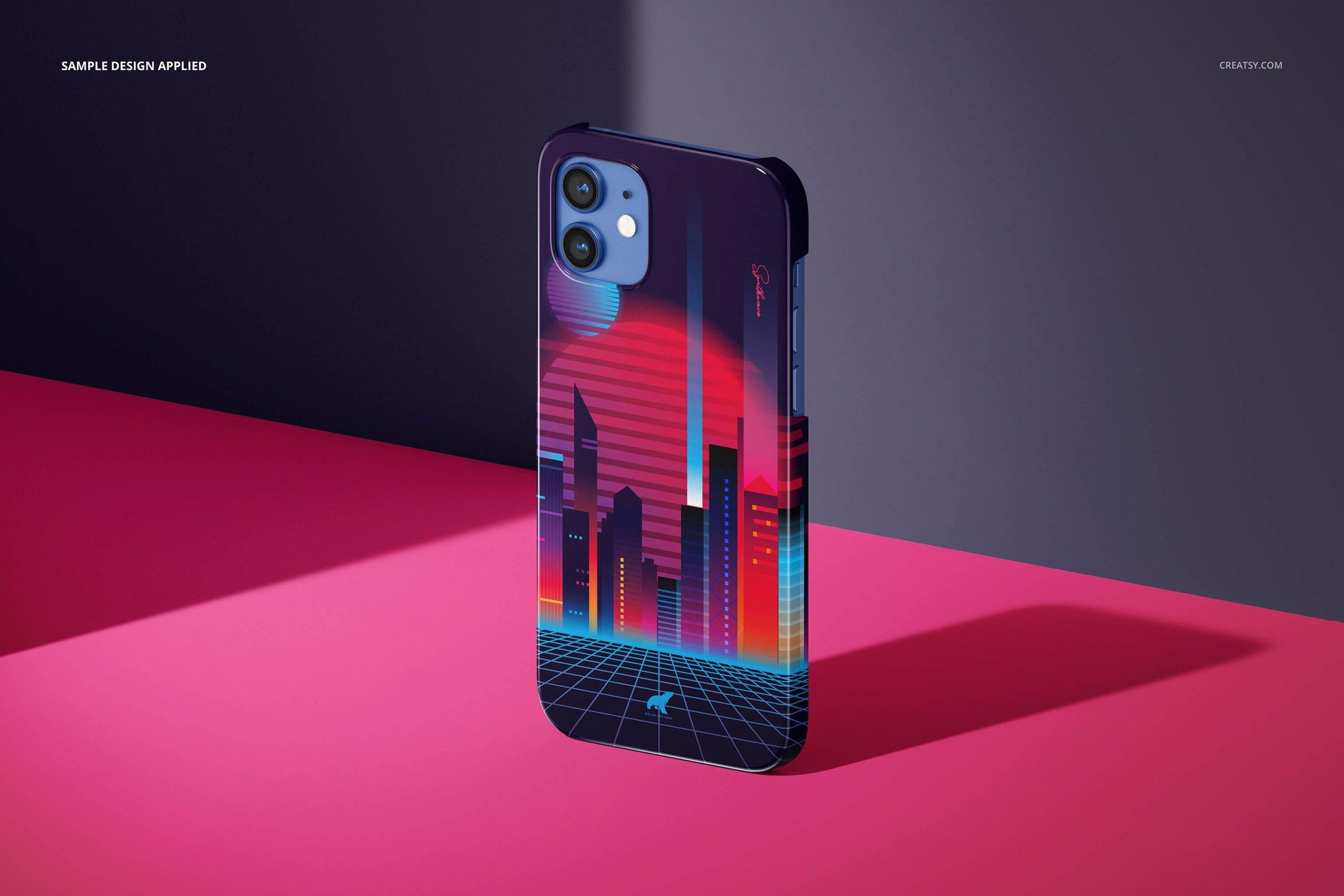 [单独购买] 26款时尚光滑苹果iPhone 12手机保护壳设计PS贴图样机模板素材 iPhone 12 Glossy Snap Case 1 Mockup插图13
