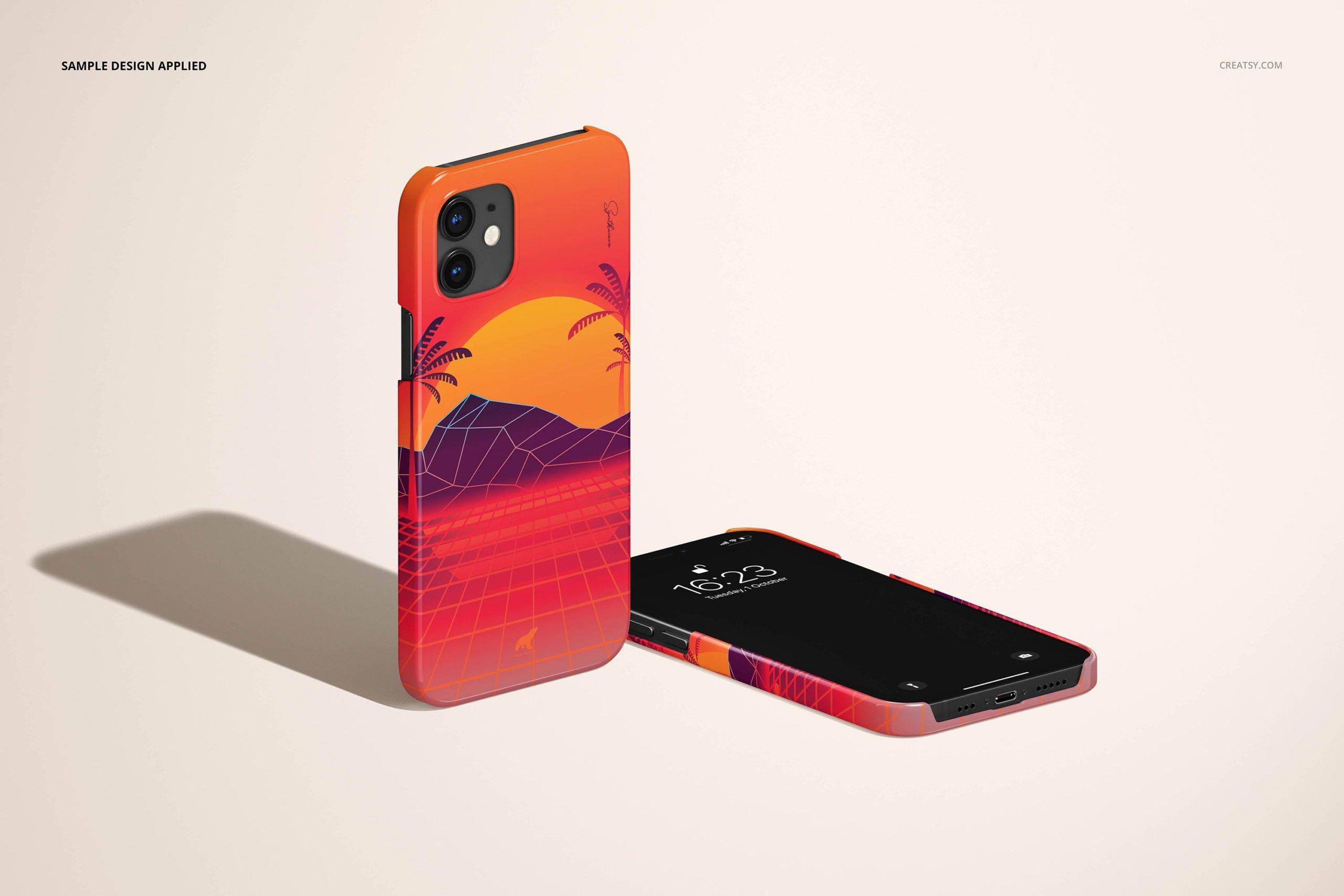 [单独购买] 26款时尚光滑苹果iPhone 12手机保护壳设计PS贴图样机模板素材 iPhone 12 Glossy Snap Case 1 Mockup插图14