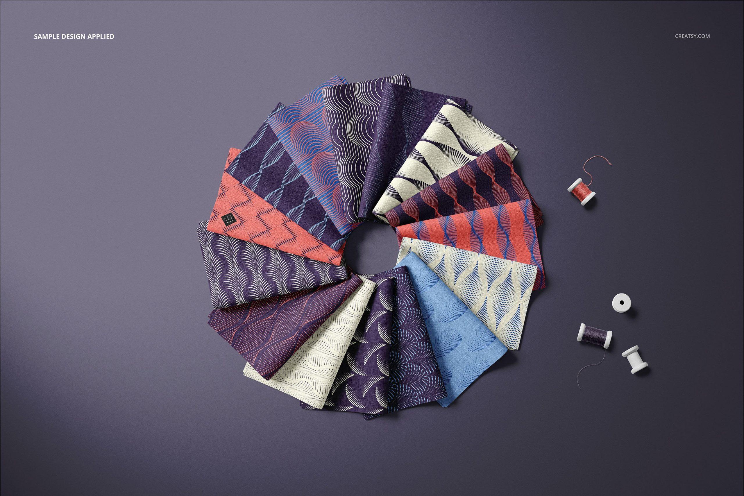 时尚折叠式绸缎面料印花图案设计贴图样机合集 Folded Fabric Swatches Mockup Set插图5