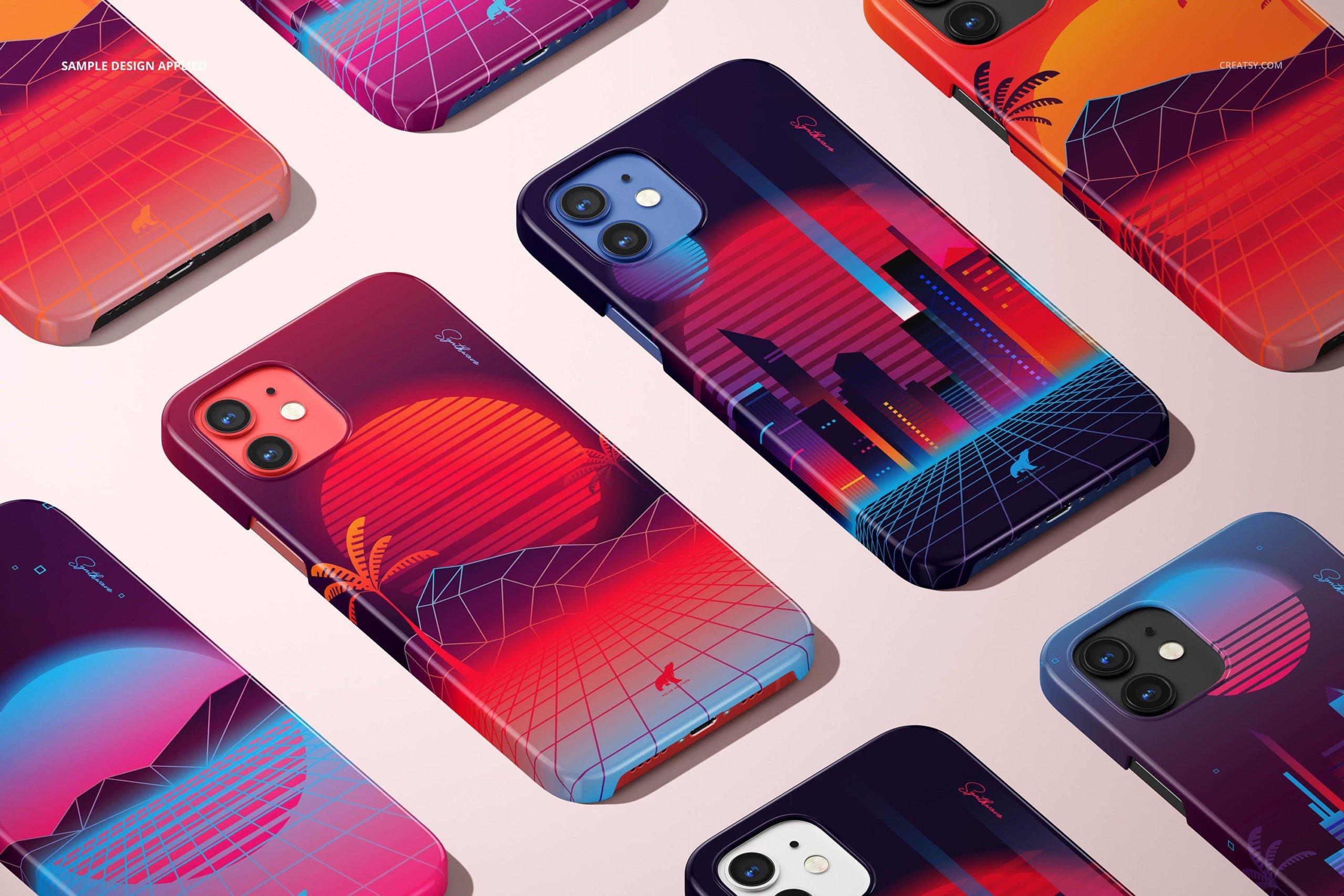 [单独购买] 26款时尚光滑苹果iPhone 12手机保护壳设计PS贴图样机模板素材 iPhone 12 Glossy Snap Case 1 Mockup插图18