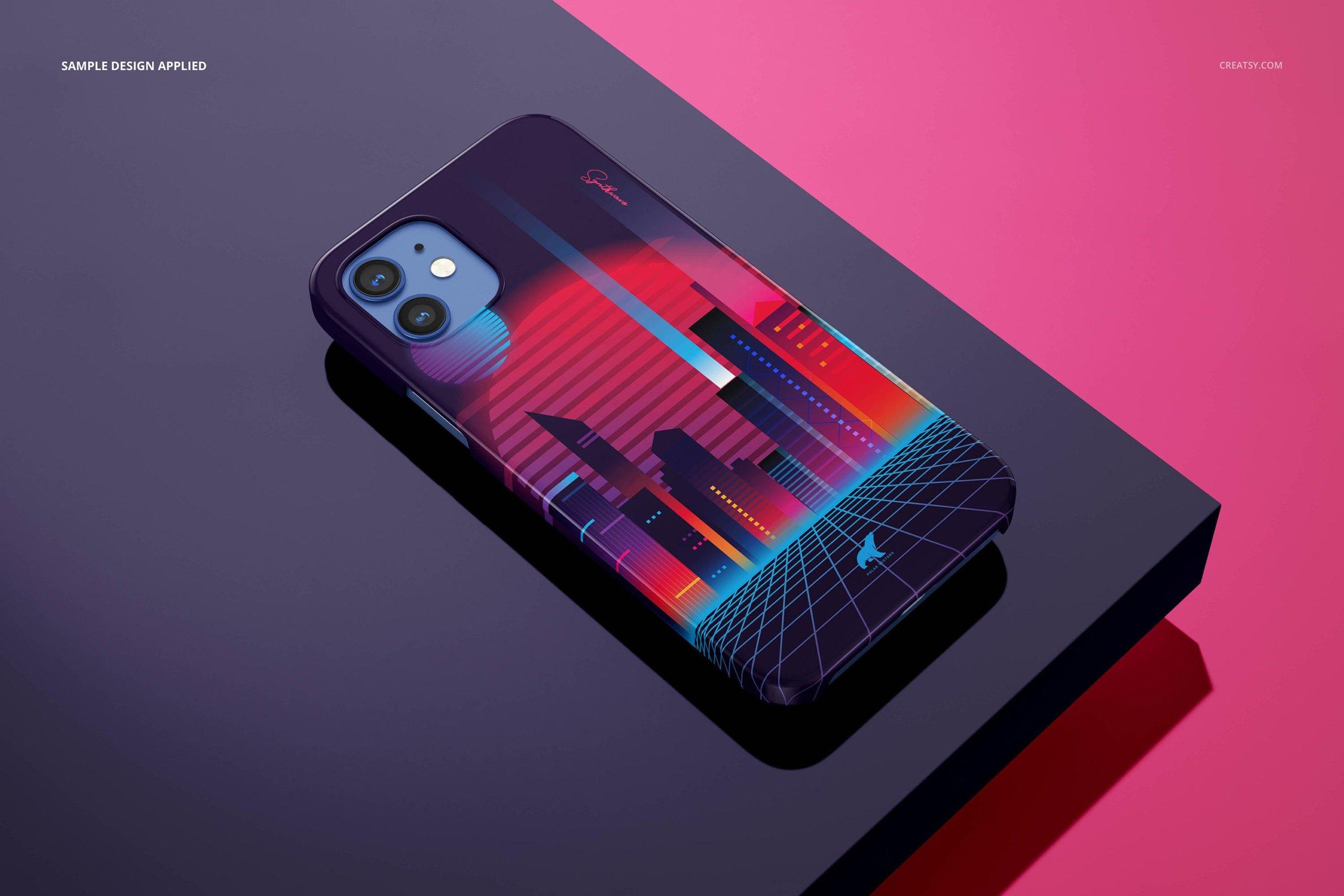 [单独购买] 26款时尚光滑苹果iPhone 12手机保护壳设计PS贴图样机模板素材 iPhone 12 Glossy Snap Case 1 Mockup插图27