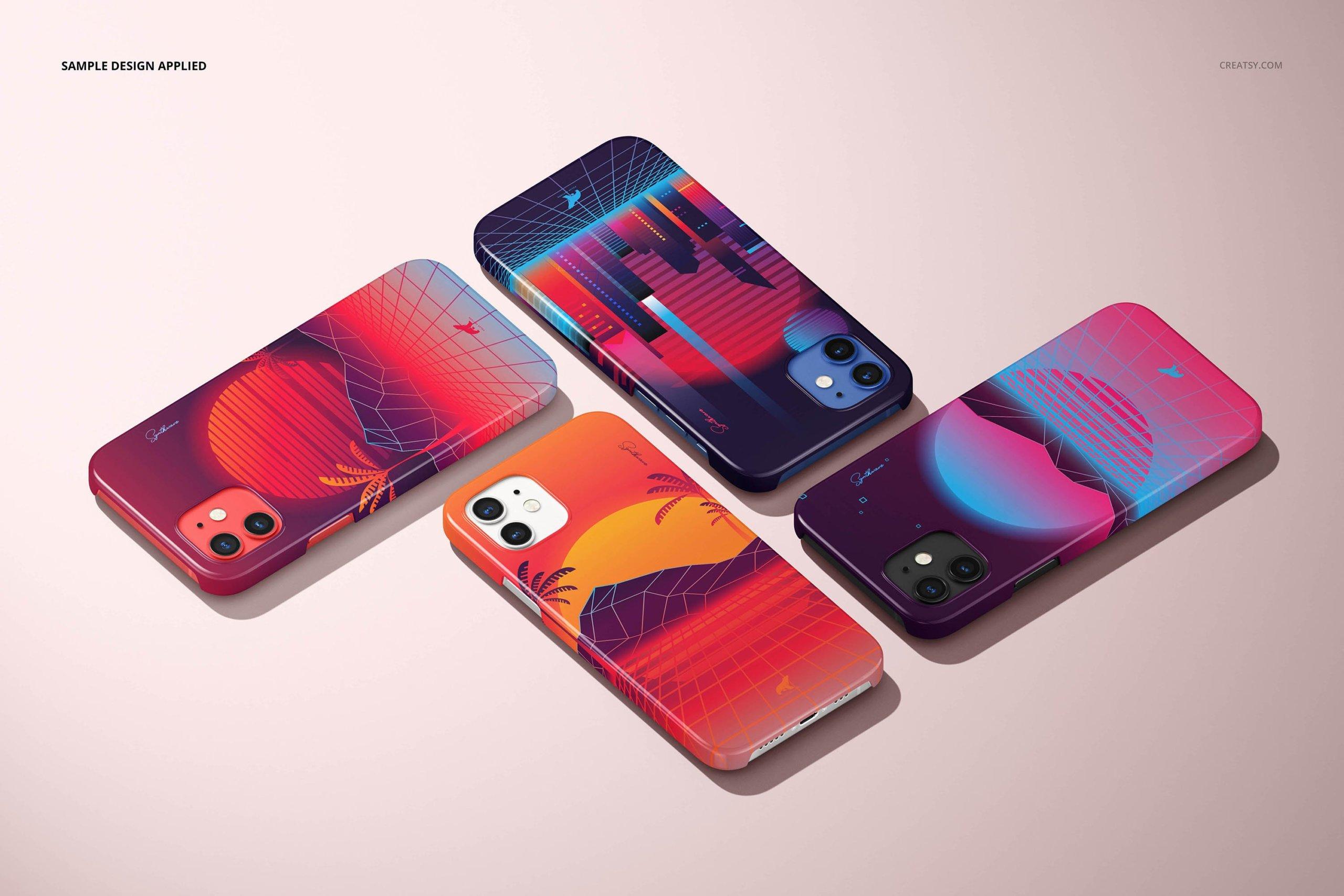 [单独购买] 26款时尚光滑苹果iPhone 12手机保护壳设计PS贴图样机模板素材 iPhone 12 Glossy Snap Case 1 Mockup插图3