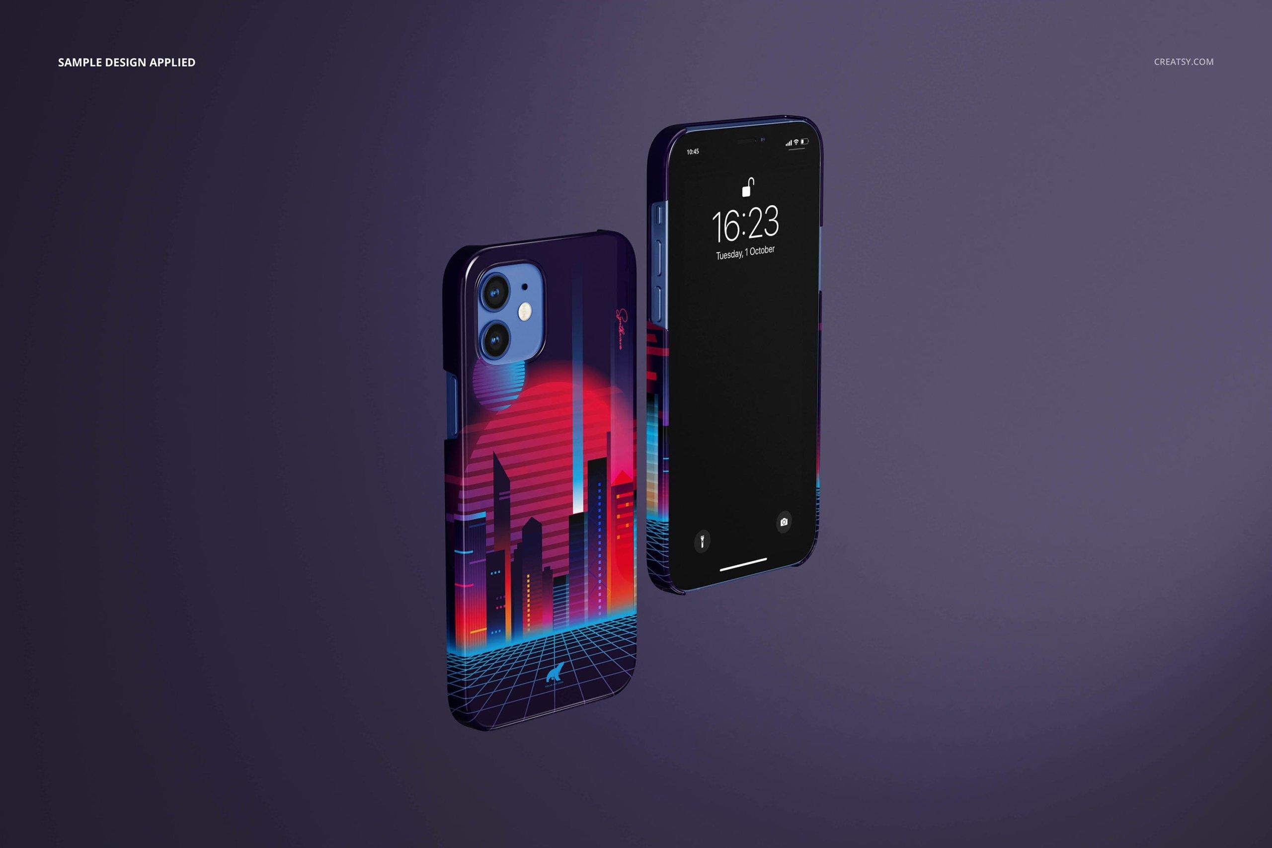[单独购买] 26款时尚光滑苹果iPhone 12手机保护壳设计PS贴图样机模板素材 iPhone 12 Glossy Snap Case 1 Mockup插图4