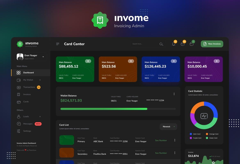 财务管理开票后台仪表盘UI界面设计模板 Invome – Invoicing Admin Dashboard Template插图4