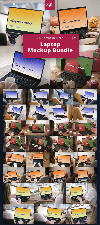 30款多场景笔记本电脑屏幕演示样机模板套装 Laptop Mockup Scenes Bundle插图