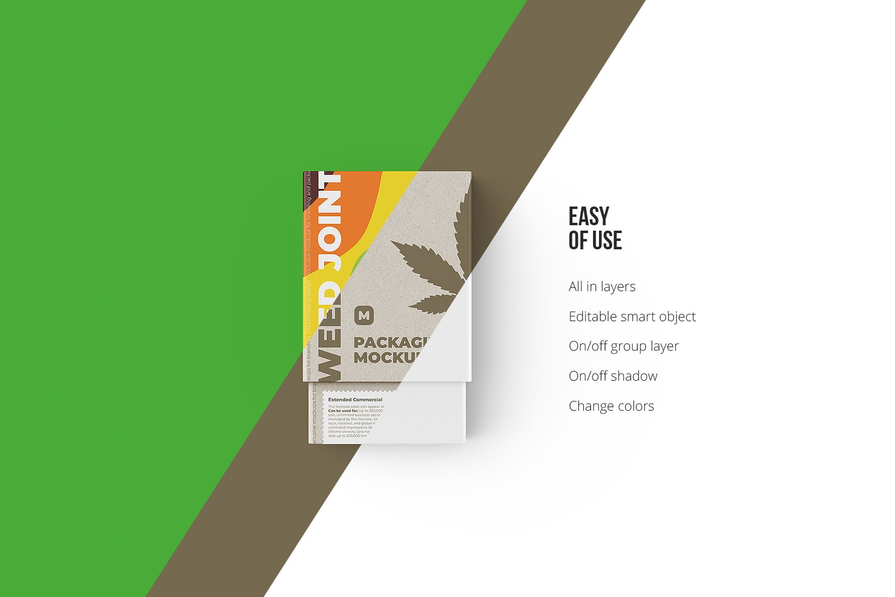 烟草香烟雪茄包装纸盒设计展示贴图样机 Weed Joint Packaging Mockup插图5