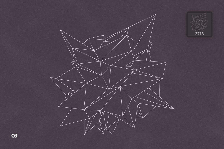 抽象科技未来线框多边形形状PS笔刷设计素材 Wireframe Polygonal Shapes Photoshop Brushes插图6