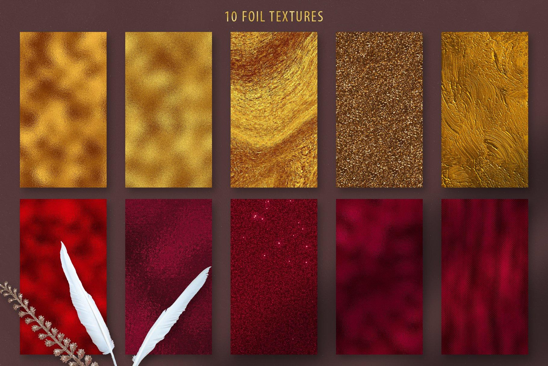 10款抽象奢华红色玛瑙石金箔纸纹理背景图片设计素材 Gold Veined Red Agate Textures插图3