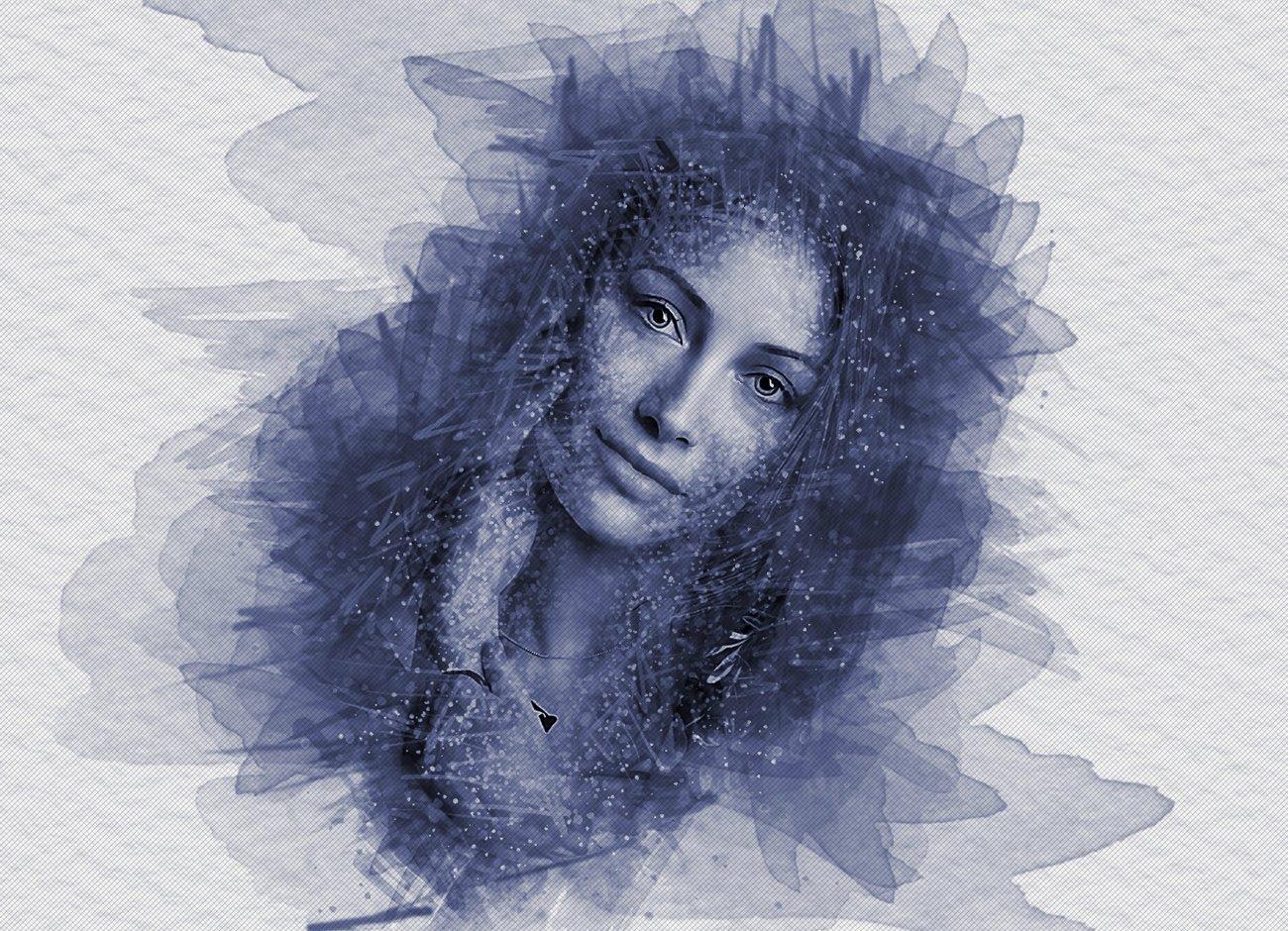 逼真水彩画效果照片处理特效PS动作模板 Watercolor Photoshop Action插图6