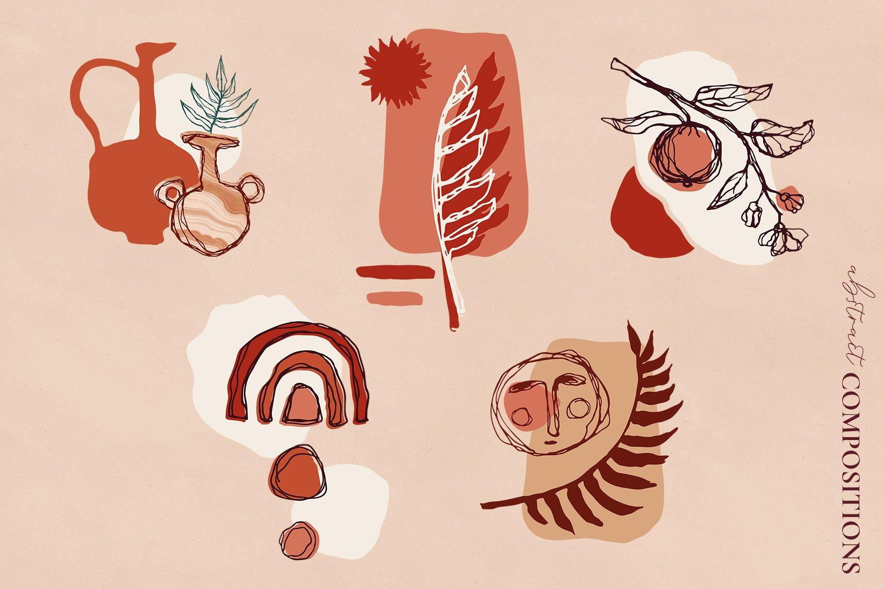 [单独购买] 现代优雅抽象花卉图形艺术线条金色箔纸设计套件 Abstract Line Art Design Kit插图5