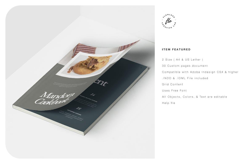 极简主义美食食谱菜单杂志画册设计INDD模板 Mandora Food Recipe Cookbook插图5