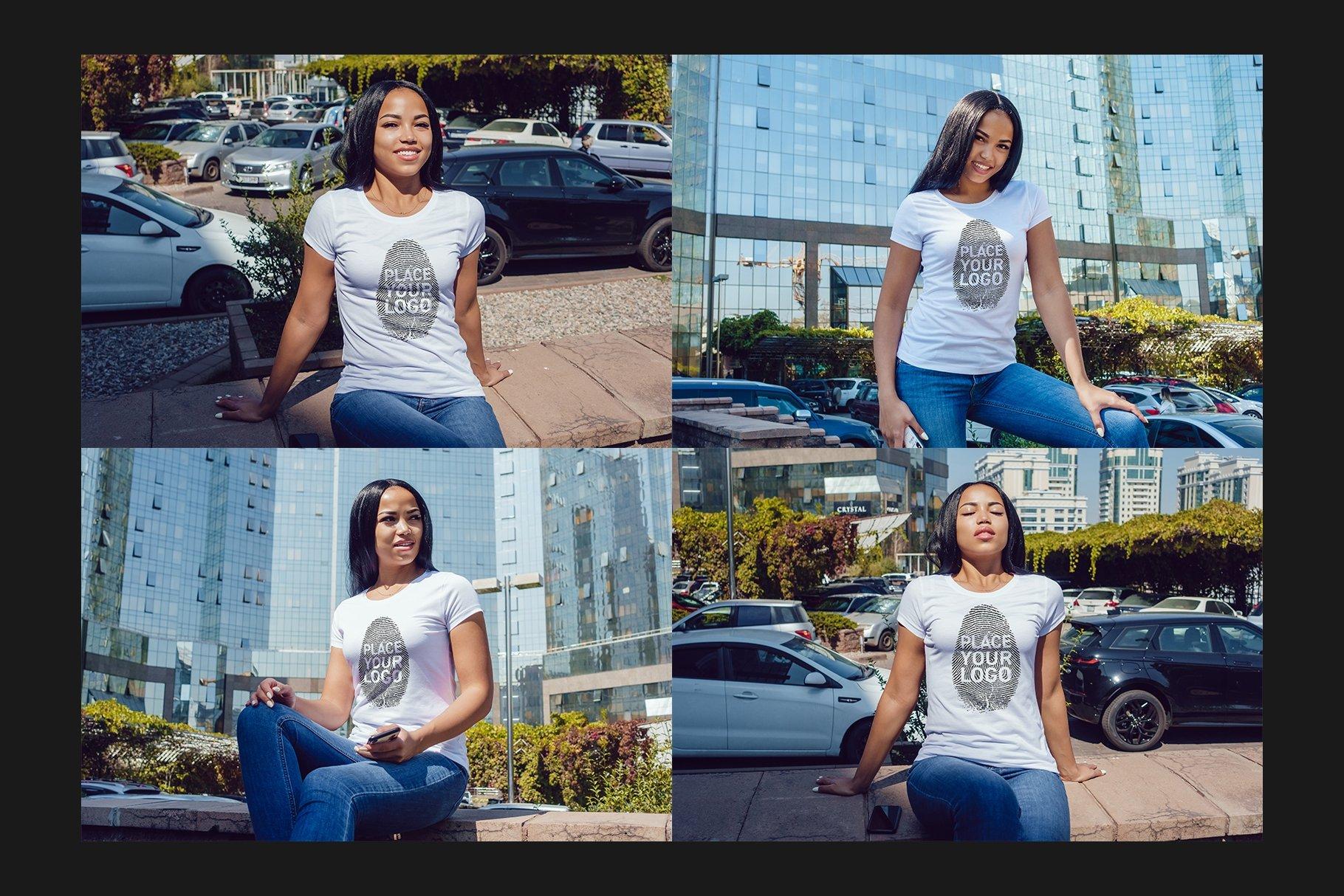 22款女孩半袖T恤衫印花图案设计展示贴图样机合集 Girls T-Shirt Mock-Up Set插图5