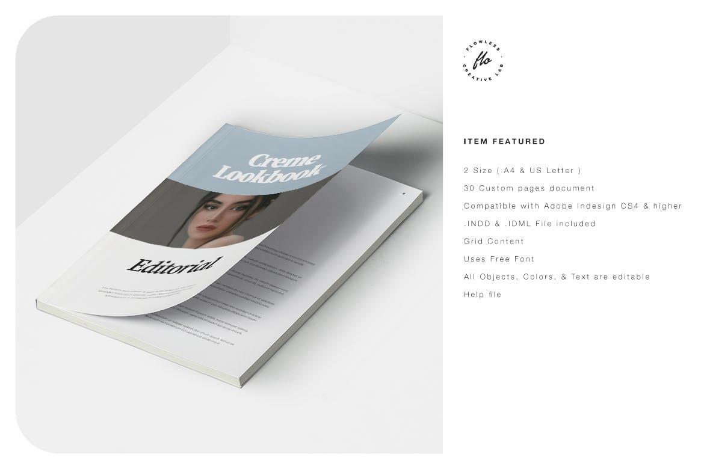 极简主义摄影作品集画册设计INDD模板素材 Creme Editorial Fashion Lookbook插图5