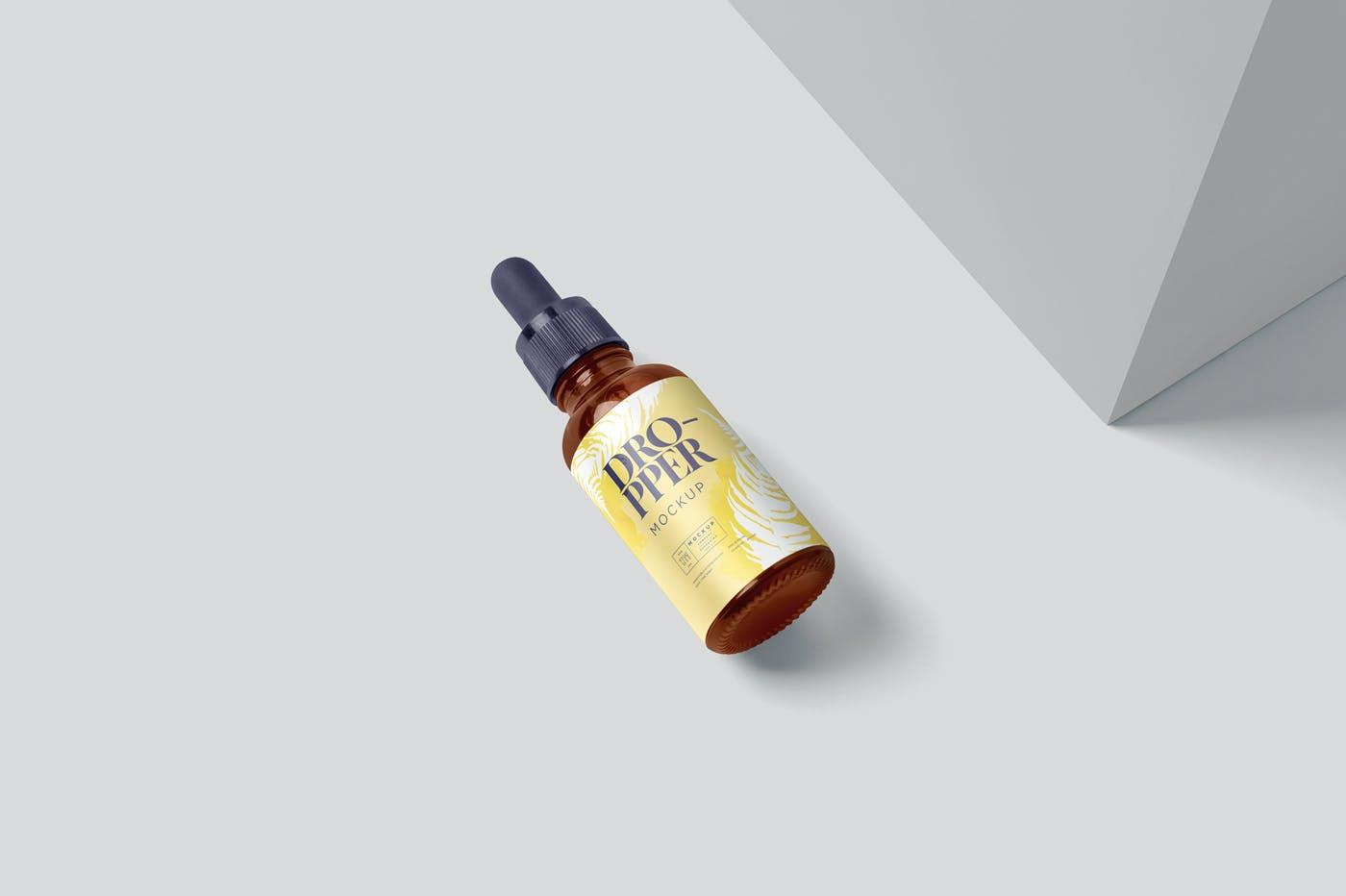 4款医疗药物化妆品滴灌瓶包装盒设计展示贴图样机 Dropper Bottle Mockups插图5