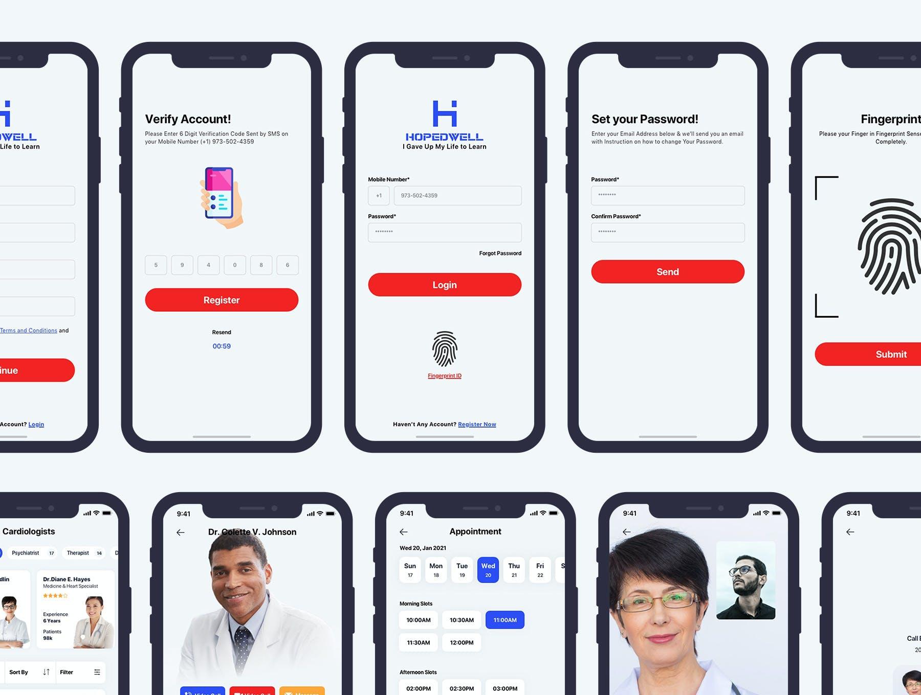 医院挂号卫生保健APP应用程序UI界面设计套件 Hospital & HealthCare Mobile App UI插图5