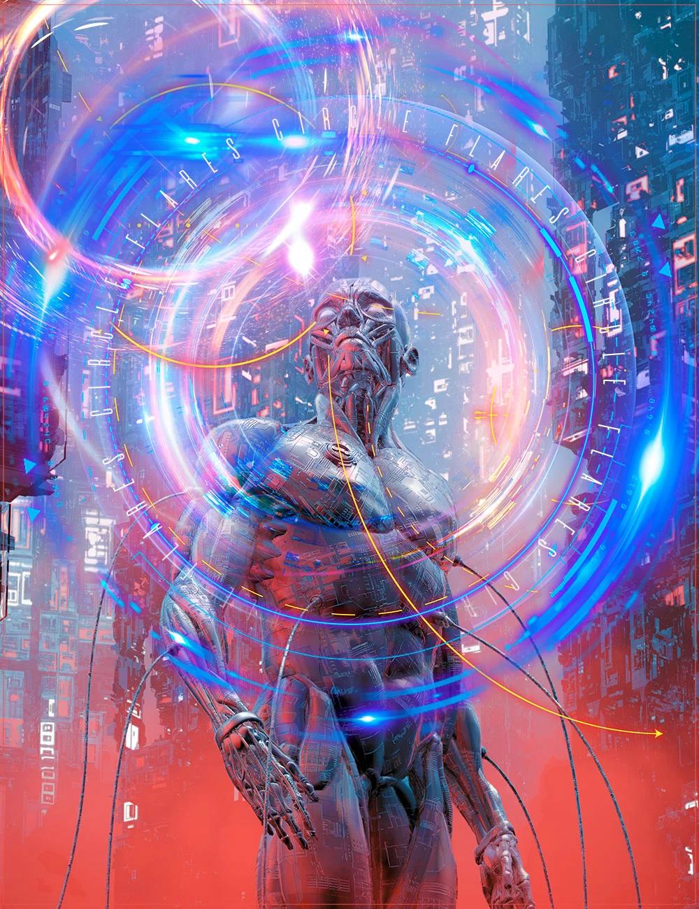 炫酷耀眼未来科幻罗恩光圈照片叠加层PNG透明图片设计素材 Rons Circle Flares插图