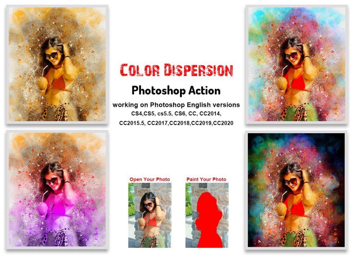 色彩分散碎片爆炸效果照片处理特效PS动作模板 Color Dispersion Photoshop Action插图