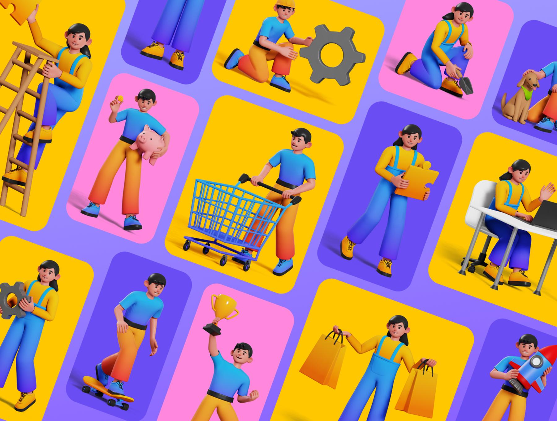 可爱卡通人物购物团队合作元素3D图标插图包 Joe and Jessie 3D Illustrations插图5