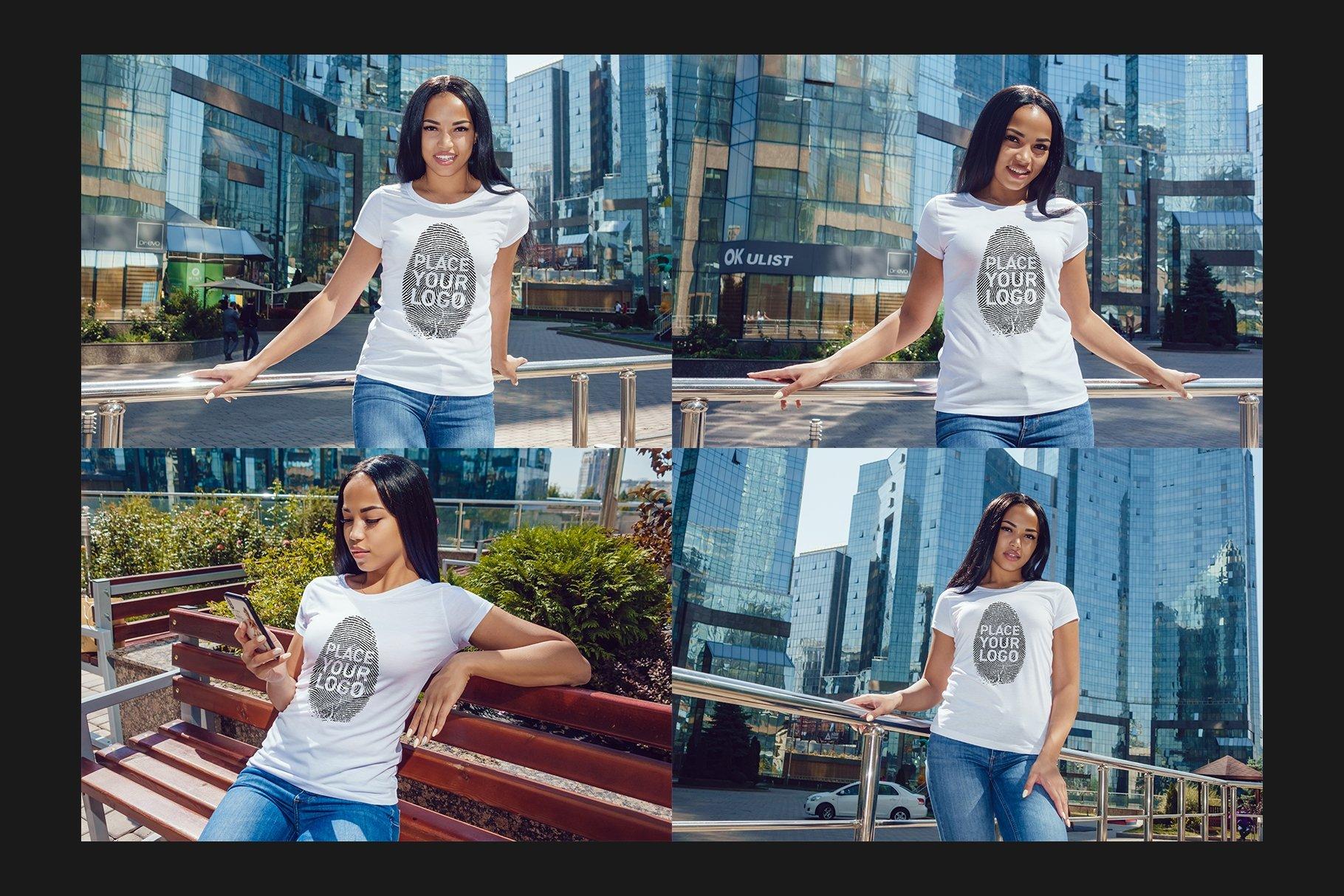 22款女孩半袖T恤衫印花图案设计展示贴图样机合集 Girls T-Shirt Mock-Up Set插图6