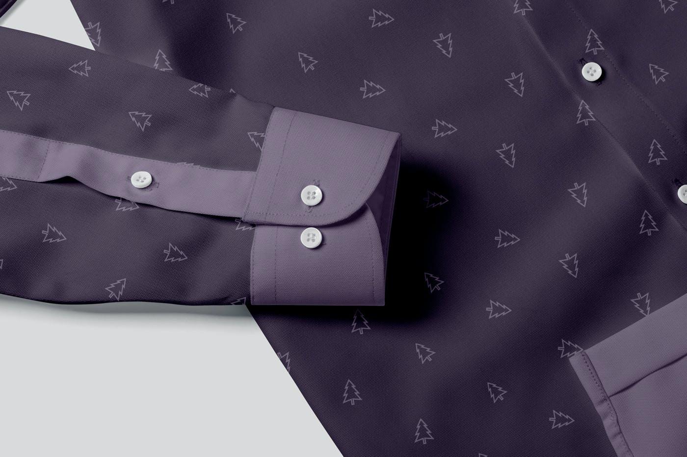 男士纽扣衬衫印花设计PS贴图样机模板 Button Up Shirt For Men Mockups插图6
