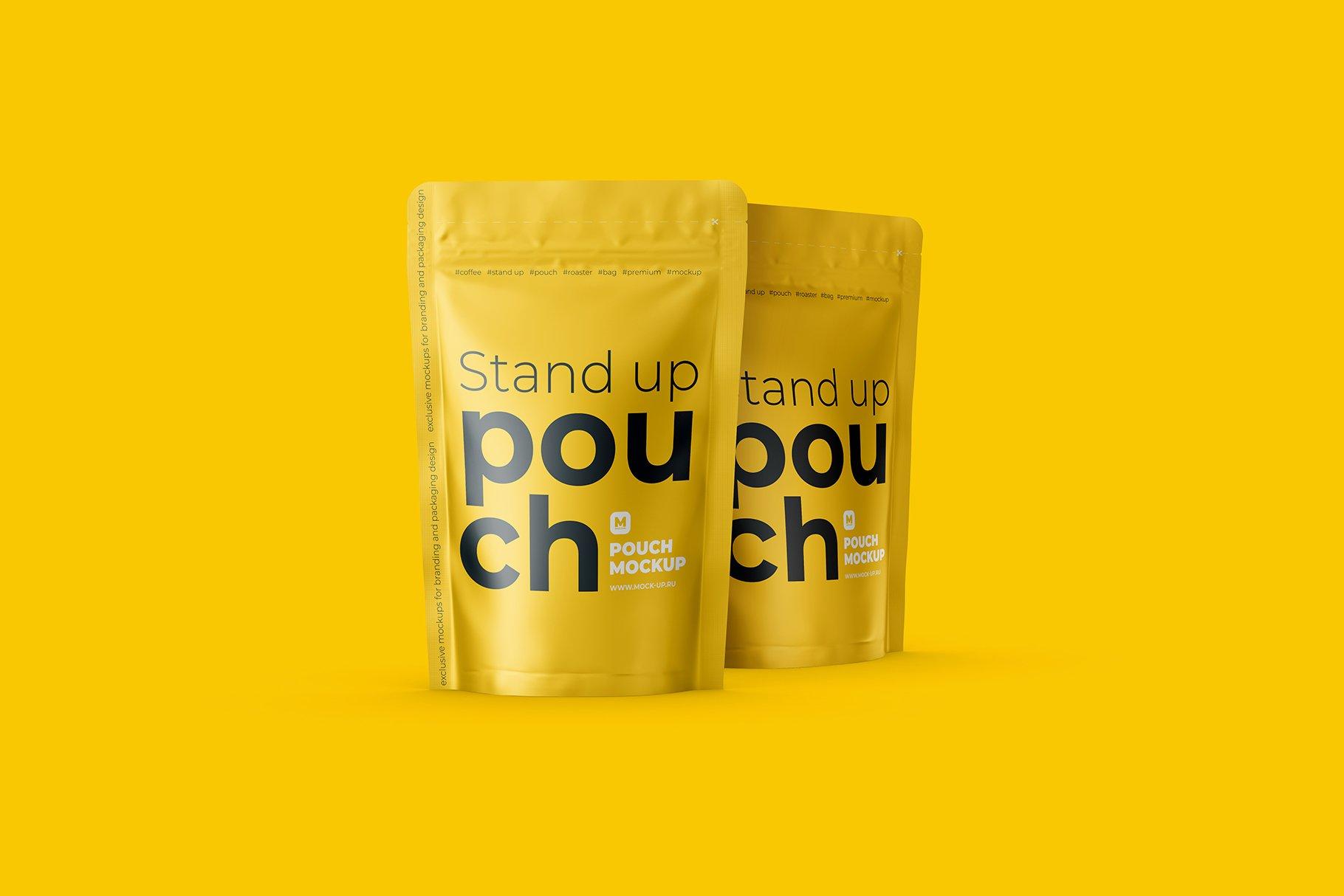 光泽立式食品自封袋设计PS贴图样机 Stand Up Pouch Front and Half Side插图6