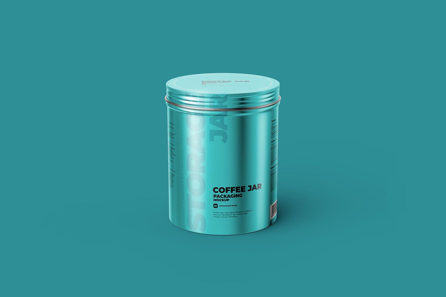 食品茶叶金属锡罐设计展示贴图样机模板 Metallic Storage Jar Angle View插图6