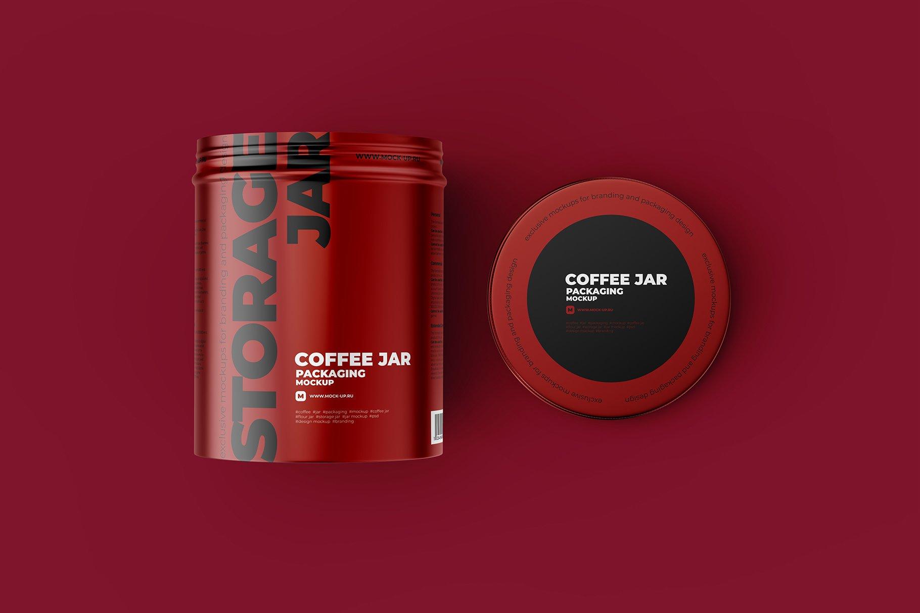 顶视图开盖茶叶零食金属罐标签设计展示贴图样机 Metallic Storage Open Jar. Top View插图4
