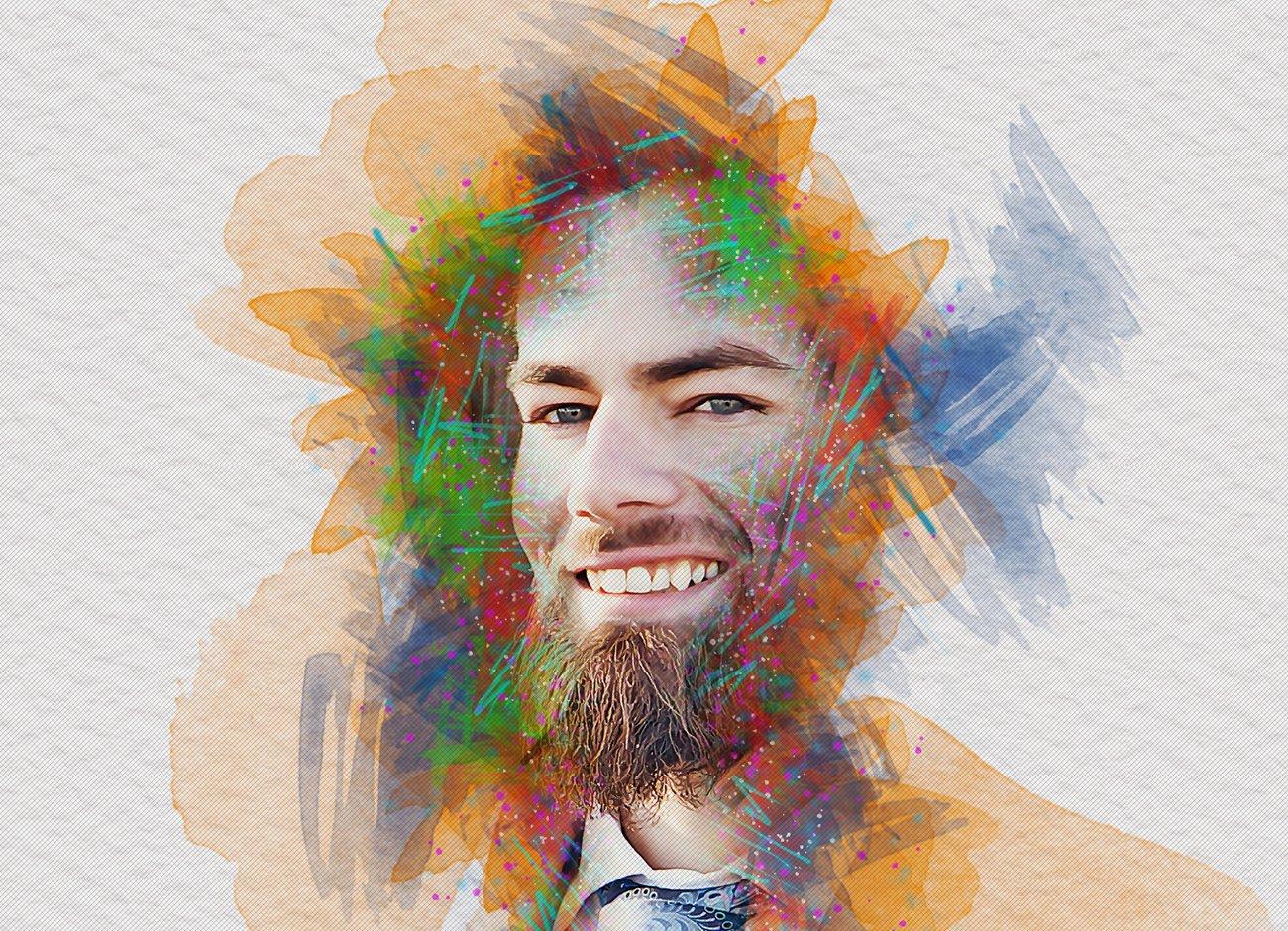 逼真水彩画效果照片处理特效PS动作模板 Watercolor Photoshop Action插图7
