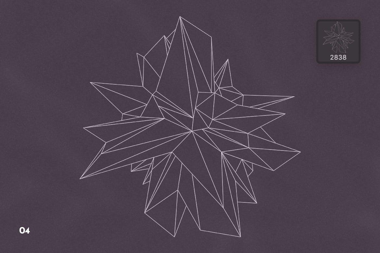 抽象科技未来线框多边形形状PS笔刷设计素材 Wireframe Polygonal Shapes Photoshop Brushes插图7