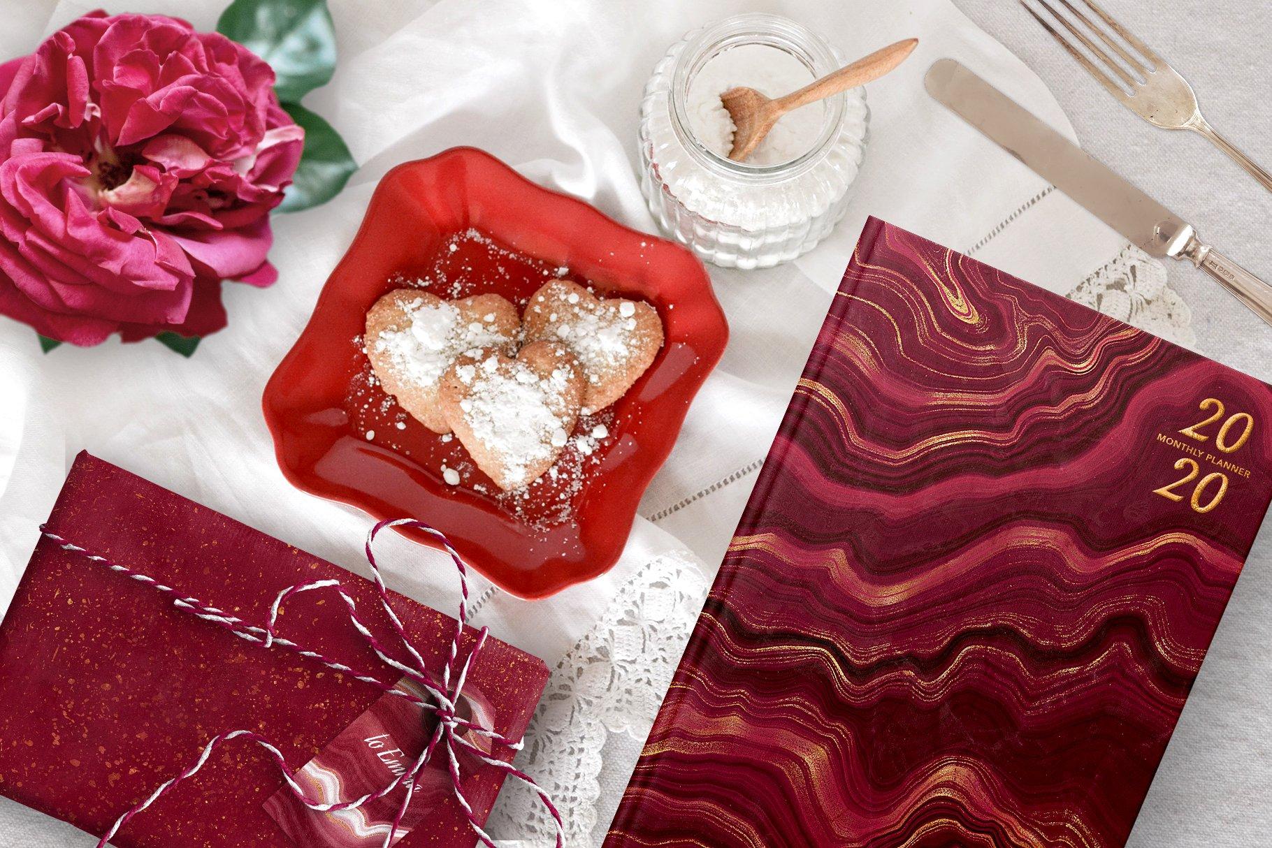 10款抽象奢华红色玛瑙石金箔纸纹理背景图片设计素材 Gold Veined Red Agate Textures插图4