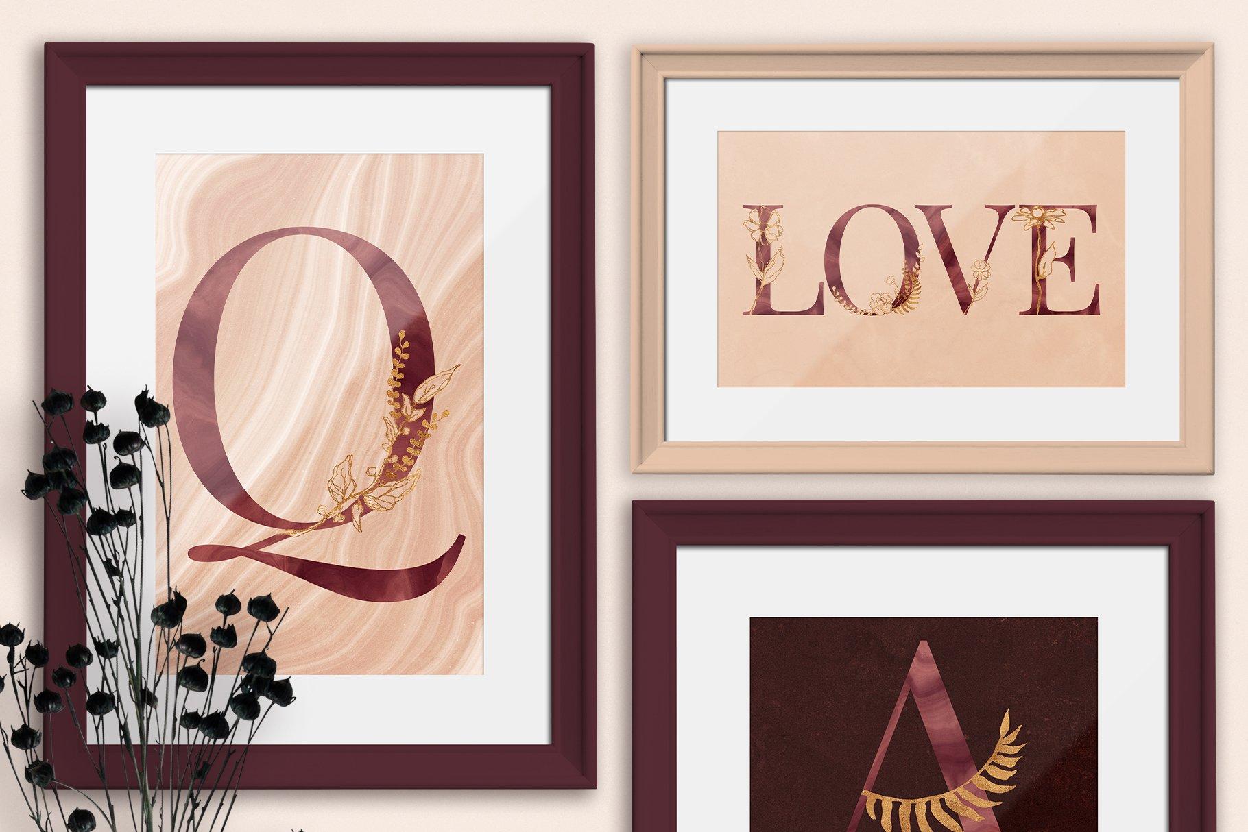 [单独购买] 现代优雅抽象花卉图形艺术线条金色箔纸设计套件 Abstract Line Art Design Kit插图6