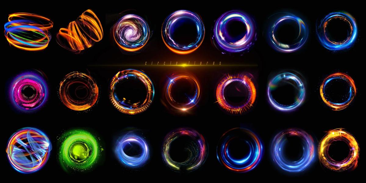 炫酷耀眼未来科幻罗恩光圈照片叠加层PNG透明图片设计素材 Rons Circle Flares插图3