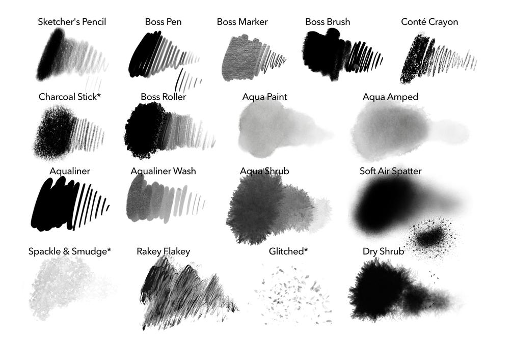 逼真素描水彩线条绘画画笔Procreate笔刷素材 Ink Gang Boss – SketchBox For Procreate插图6