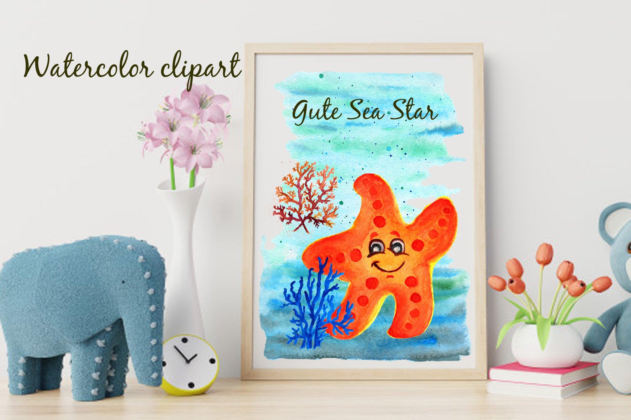 高清海底海星珊瑚手绘剪贴画PNG透明图片素材 Corals Clip Art for Kids Watercolor Sea插图5